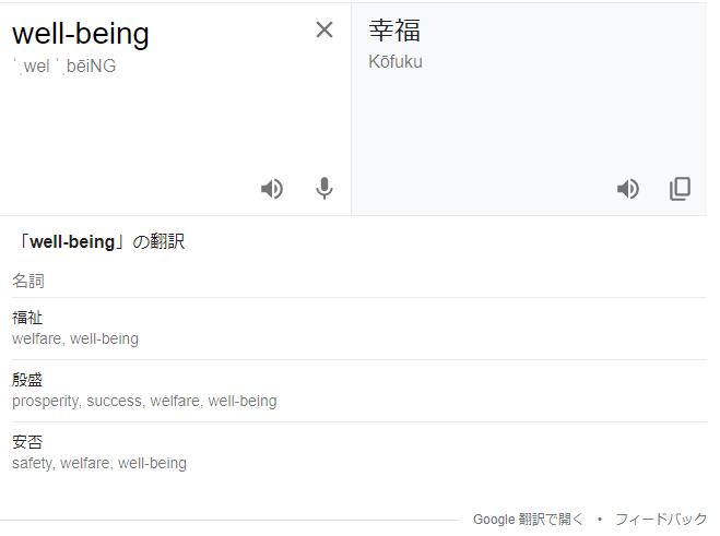 ウェルビーイング-Well-beingのGoogle翻訳画面|ウェルビーイングの出自|KEN'S BUSINESS ケンズビジネス ウェルビーイングとは?